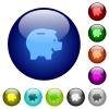 Color piggy bank glass buttons - Set of color piggy bank glass web buttons.