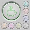 Dollar piggy bank push buttons - Set of color Dollar piggy bank sunk push buttons.