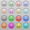 Laptop plastic sunk buttons - Set of laptop plastic sunk spherical buttons.