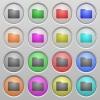 Folder plastic sunk buttons - Set of folder plastic sunk spherical buttons.