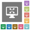 Fullscreen view square flat icons - Fullscreen view flat icon set on color square background.