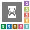 Hourglass square flat icons - Hourglass flat icon set on color square background.