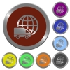 Color international transport buttons - Set of color glossy coin-like international transport buttons.