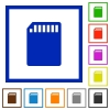 SD memory card framed flat icons - Set of color square framed SD memory card flat icons on white background