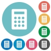 Flat calculator icons - Flat calculator icon set on round color background.