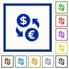 Dollar euro exchange framed flat icons - Set of color square framed dollar euro exchange flat icons on white background