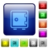 Color strong box square buttons - Set of strong box color glass rounded square buttons