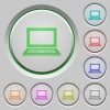 Laptop push buttons - Set of color laptop sunk push buttons.
