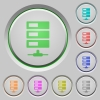 Data network push buttons - Set of color Data network sunk push buttons.