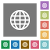 Globe flat icon set on color square background. - Globe square flat icons