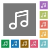 Music square flat icons - Music flat icon set on color square background.