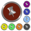 Color pin buttons - Set of color glossy coin-like pin buttons.