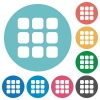 Flat small grid icons - Flat small grid icon set on round color background.