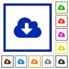 Cloud download framed flat icons - Set of color square framed Cloud download flat icons on white background