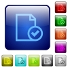 Color document accepted square buttons - Set of document accepted color glass rounded square buttons