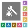 Bug fixing square flat icons - Bug fixing flat icon set on color square background.