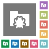 Bug folder square flat icons - Bug folder flat icon set on color square background.