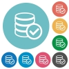 Flat database ok icons - Flat database ok icon set on round color background.