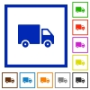 Delivery framed flat icons - Set of color square framed delivery icons on white background