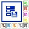Backup framed flat icons - Set of color square framed backup icons on white background