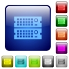 Color rack servers square buttons - Set of rack servers color glass rounded square buttons