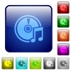 Color audio CD square buttons - Set of audio CD color glass rounded square buttons