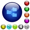 Color shared folders glass buttons - Set of color shared folders glass web buttons.