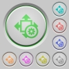 Size settings push buttons - Set of color Size settings sunk push buttons.
