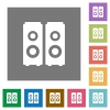Speakers square flat icons - Speakers flat icon set on color square background.