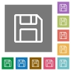 Save square flat icons - Save flat icon set on color square background.