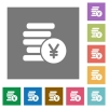 Yen coins square flat icons - Yen coins flat icon set on color square background.