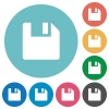 Flat save icons - Flat save icon set on round color background.