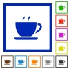 Coffee framed flat icons - Set of color square framed coffee flat icons on white background