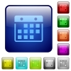 Color hanging calendar square buttons - Set of hanging calendar color glass rounded square buttons