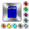 Steel SD card buttons - Engraved SD memory card icons on rounded square steel buttons