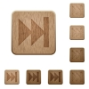 Media fast forward wooden buttons - Set of carved wooden Media fast forward buttons in 8 variations.