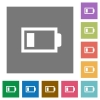 Low battery square flat icons - Low battery flat icon set on color square background.