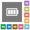Full battery square flat icons - Full battery flat icon set on color square background.