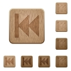 Media fast backward wooden buttons - Set of carved wooden Media fast backward buttons in 8 variations.