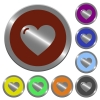 Color heart shape  buttons - Set of color glossy coin-like heart shape buttons.