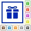 Gift box framed flat icons - Set of color square framed gift box flat icons on white background