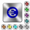 Steel euro sticker buttons - Engraved euro sticker icons on rounded square steel buttons
