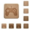 Game controller wooden buttons - Set of carved wooden Game controller buttons in 8 variations.