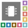 Integrated circuit square flat icons - Integrated circuit flat icon set on color square background.