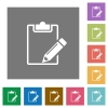 Notepad square flat icons - Notepad flat icon set on color square background.