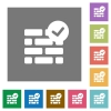 Active firewall square flat icons - Active firewall flat icon set on color square background.