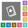 Card game square flat icons - Card game flat icon set on color square background.