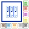 Binders framed flat icons - Set of color square framed binders flat icons on white background