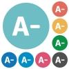 Flat decrease font size icons - Flat decrease font size icon set on round color background.