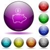 Bitcoin piggy bank glass sphere buttons - Set of color Bitcoin piggy bank glass sphere buttons with shadows.